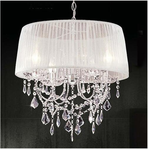 Modern Crystal Chandeliers Light,Round Lampshade Double-deck Fabric Lamp Shade Luminaire Chandelier Lamp for Restaurant Bar,CL01