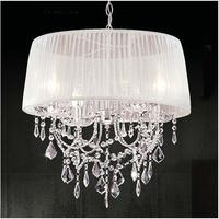 Modern Crystal Chandeliers Light,Round Lampshade Double deck Fabric Lamp Shade Luminaire Chandelier Lamp for Restaurant Bar,CL01