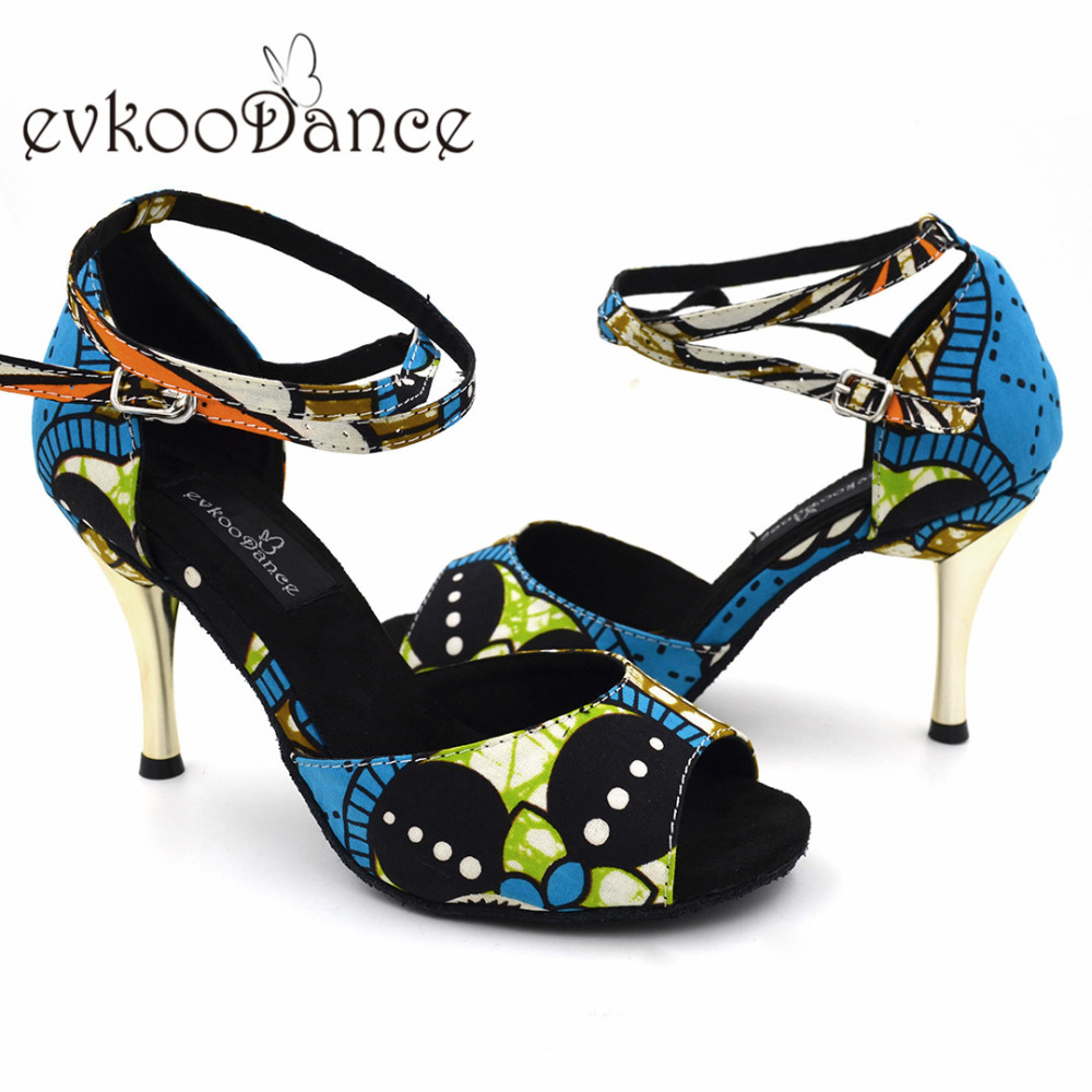 Blue Flower Color Open Toe Latin Dance Shoes For Women 8 5 High Heel Professional Size