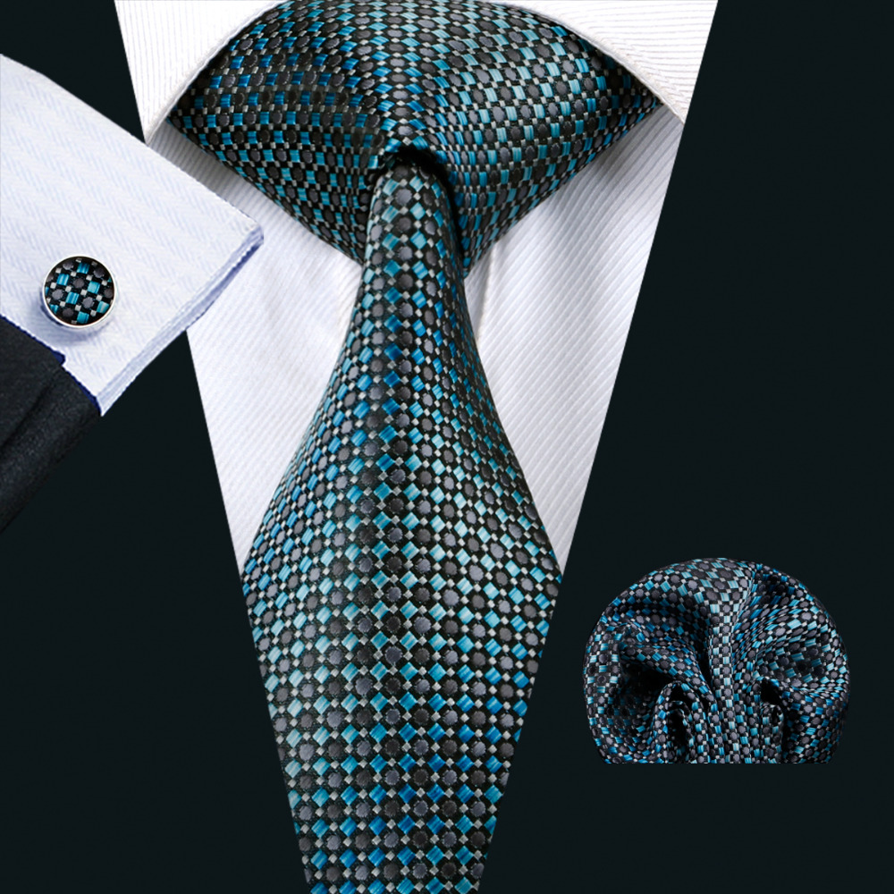 Barry.Wang New Arrival Men`s Tie Novelty Silk Jacquard Woven Necktie Handkerchief Cufflink Set For Men`s Business Wedding Party