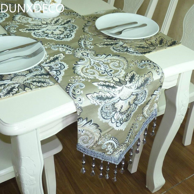 DUNXDECO Table Runner Silk Look European Flora Jacquard Long Table Cover  Fabric Modern Home Party