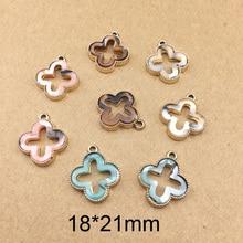 10 pcs Hollow-out Alloy Charm Pendant Mosaic Acrylic Flower Geometric DIY Earring Keyring Jewelry Accessory YZ190