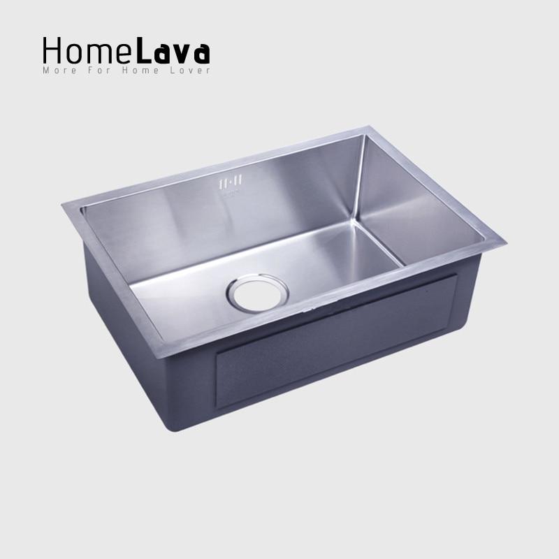 Tangan Buatan Disikat 304 Stainless Steel Kitchen Sink Faucet Dapur Aksesoris Mangkuk Tunggal 50 40 23 Cm Di Tenggelam Dari Perbaikan Rumah