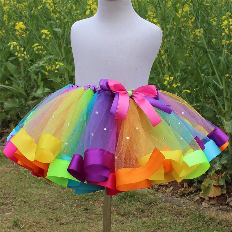 Fashion New Children's Day Girls Rainbow Dress Baby Kids Girl Party Performance Tutu Dress Children With Diamond Rainbow Dresses muqgew new fashion 2018 children party