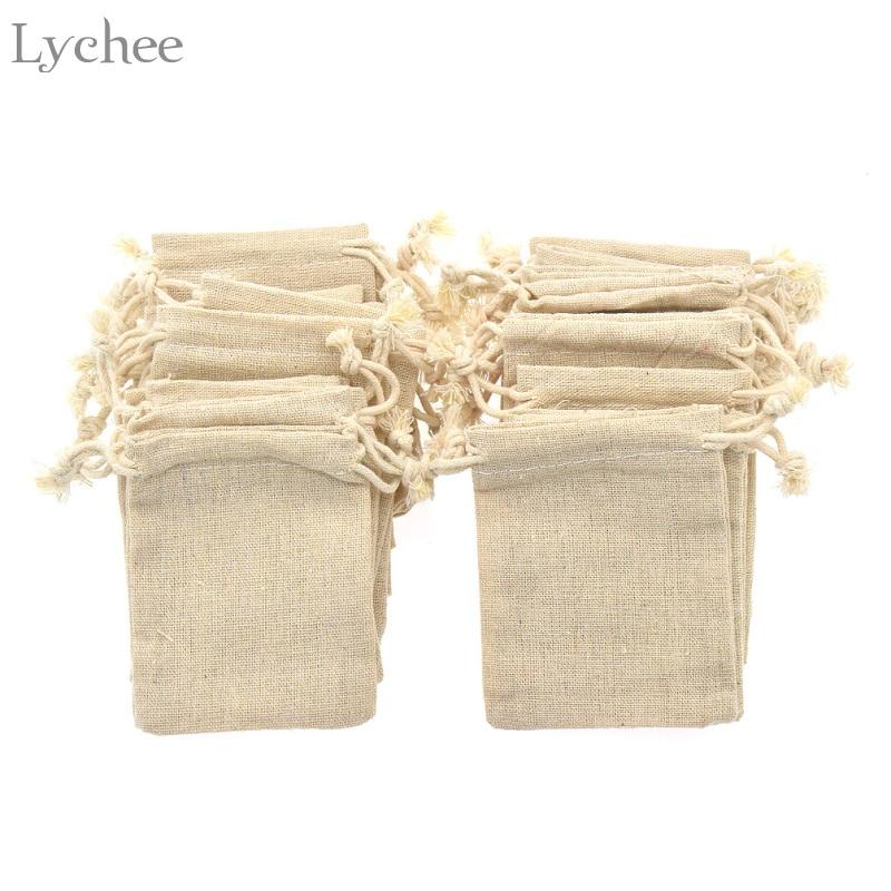 Lichi 30 unids vintage natural bolsa de regalo del caramelo del banquete de boda