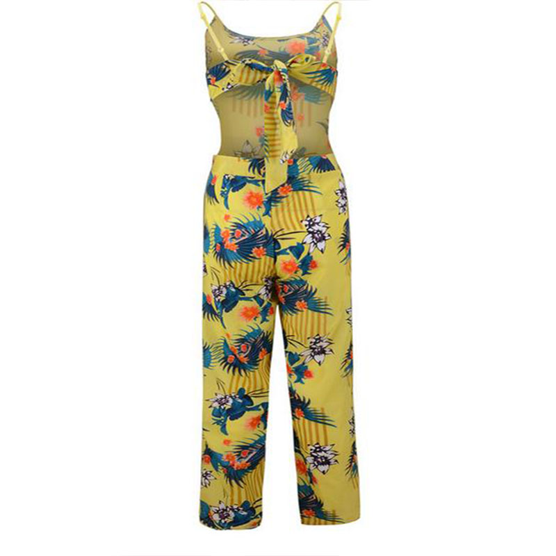 LASPERAL 2017 Printed Jumpsuits Women Flower Sexy Backless Full Length Jumpsuit Ladies Summer Coveralls Nightclub Wear Jumpsuit