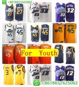 11a22f1d3 Utah Rudy Gobert Ricky Rubio Donovan Mitchell Karl Malone John Stockton  basketball jerseys for Youth camiseta maillot