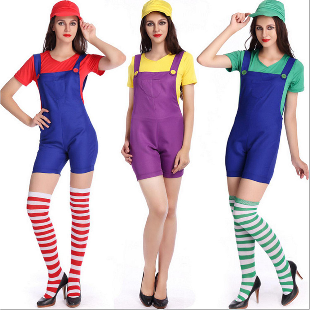 VASHEJIANG Women  Luigi Brothers Costume Women Anime Super Mario Cosplay  Adult Plumber Uniform Sexy Halloween costume for women