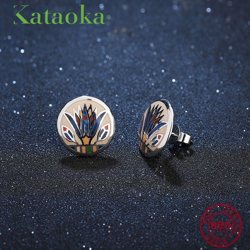 New design Round shape 2018 Hot Authentic 925 Sterling Silver Ethnic style fashion Stud Earrings luxury Party Jewelry Enamel pe hagit fashion 1 pair round shape vintage stud earrings for man trendy party black earrings jewelry men