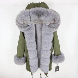 Image 5 - Oftbuy 2020 新冬のジャケットの女性本物の毛皮のコートナチュラル本物フォックス毛皮の襟ロングパーカービッグ毛皮の上着着脱式ストリート