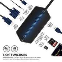 8 in 1 Thunderbolt 3 Hub USB Type C to HDMI VGA USB 3.1 Multiport Charging Converter Adapter For MacBook Pro Google Chromebook