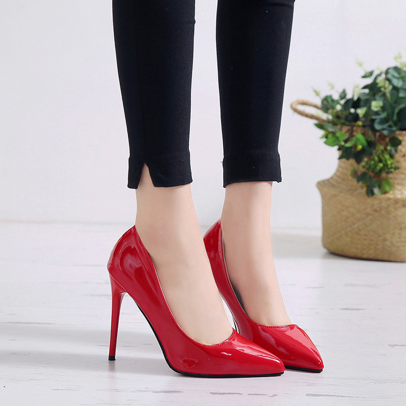 New Pointed Toe Leather Women Pumps Fashion Office Shoes Women Sexy High Heels Shoes Thin Heel Women 's Wedding Shoes 19