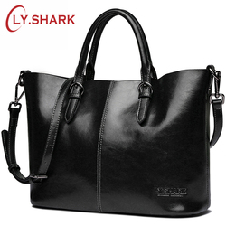 LY. SHARK الإناث حقيبة يد المرأة مركب حقيبة ساعي حقيبة كتف المرأة سيدة جلد طبيعي حقائب كروسبودي للنساء السود