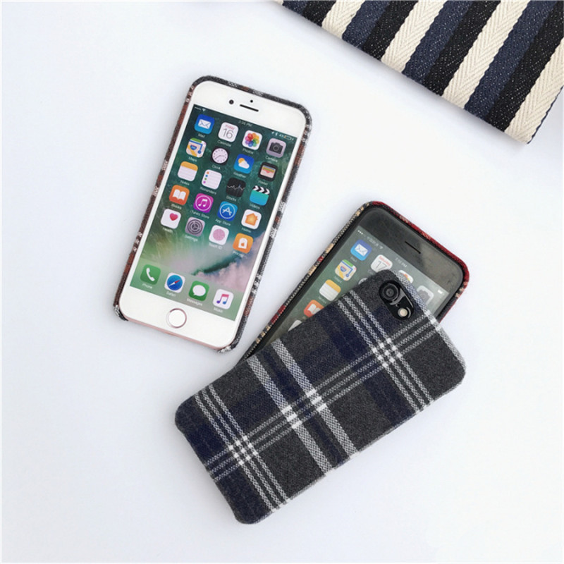 LUDI Britain style Grid Cloth Fabrics Grid Cloth Back Cover for iphone X 8 7 Plus Soft Phone Case for iphone 6 6S 66sPlus      3