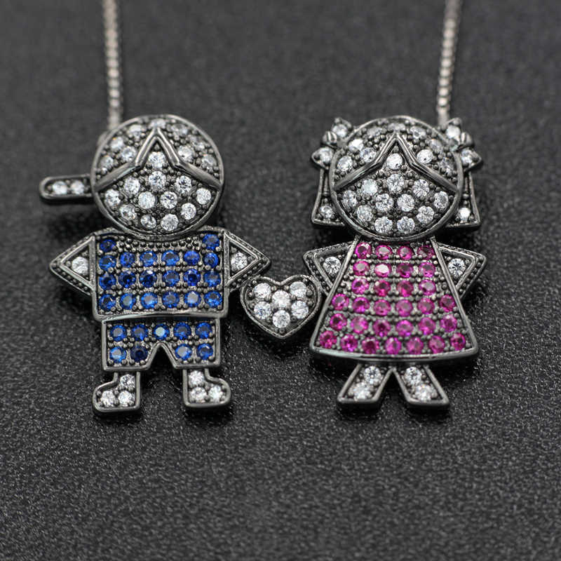 Boy And Girl Pendant Necklaces For women Gift Multi-color Cubic Zirconia Child Pendant Necklaces Women's fashion Jewelry Colar