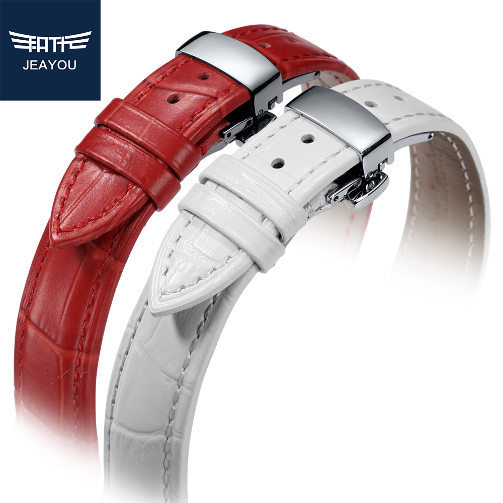 JEAYOU Leather Watch Band For Women Watch Strap Bracelet For Tissot Mido Casio White Red Pink