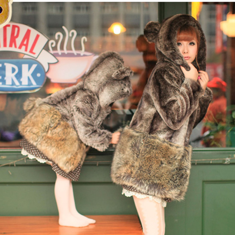 Mother and Daughter Clothes Family Matching Cotton Clothes Mama Bear Baby Bear Outfits 2017 Winter Faux Fur Kids Coat Jacket