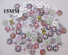 WBNKVS Wood Skull Buttons 15mm Round Randomly 300pcs Children clothes sewing supplies
