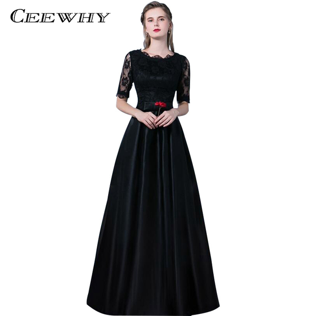 CEEWHY O-Neck Long Lace Formal Dress Black Evening Party Dress Half Sleeve Prom  Dresses Robe De Soiree Satin Evening Gown c4b6420f73fc