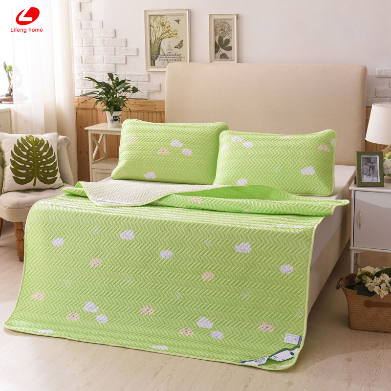 Lifeng home Green Cloud Summer Sleeping Mat Cool bed mat soft fitted sheet bed protection pad 4 corner with rubber bed sheet set