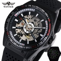 2018 WINNER Brand Men's Automatic Mechanical Wristwatch Silicone Strap Military Sports Male Watches Luminous Hands Design + BOX