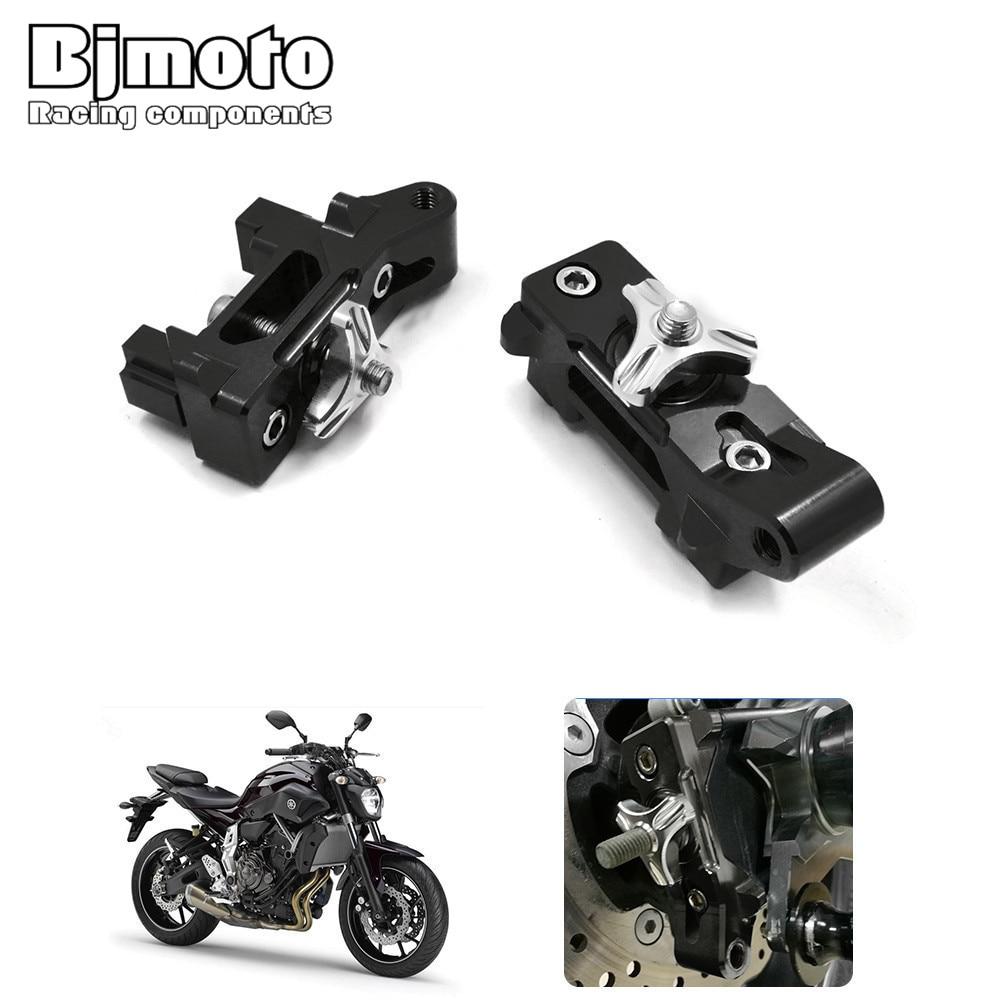 Bjmoto Motorcycle MT07 CNC Aluminum 6061 Anodized Rear Chain Adjuster Axle Blocks For Yamaha MT-07 2013-2017 FZ-07 FZ072015-2017 motorcycle rear axle spindle chain adjuster blocks chain adjusters tensioner for yamaha mt 07 2013 2016 fz 07 2015 2016