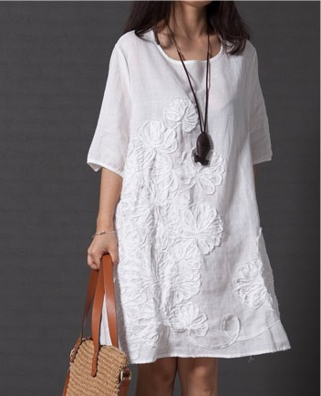 7aa338705d 2015 summer style loose women cotton embroidered casual dress plus size  ladies white linen dress