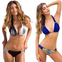 P J New Brand 2017 New Bikini Sexy Swimwear Women Beach Swimsuit Blue Crochet Bathing Suit