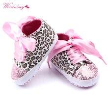 Обувь для маленьких мальчиков и девочек; сезон осень-весна; обувь с леопардовым принтом и блестками для малышей; хлопковая обувь на шнуровке с мягкой подошвой для первых шагов