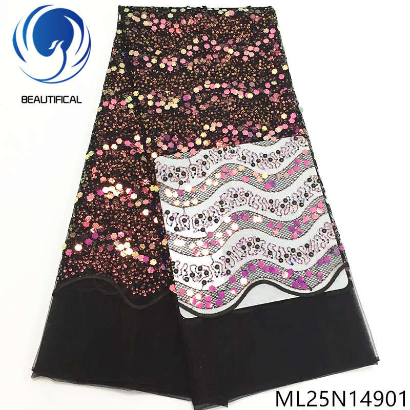 BEAUTIFICAL sequins french tulle fabric women dress african embroidery sequins tulle 2019 fabric lace ML25N149BEAUTIFICAL sequins french tulle fabric women dress african embroidery sequins tulle 2019 fabric lace ML25N149