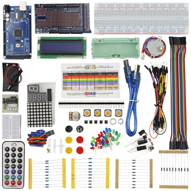 Raspberry Pi 3 for MEGA 2560 Starter Kit for LCD Servo Motor Sensor Module Jumper Wire Project Learning AVR MCU Learner full starter kit for step motor servo 1602 lcd 74hc595 resistor breadboard jumper wire for uno r3 raspberry pi 3