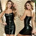 Más el Tamaño S-3XL de Las Mujeres de la Correa de Espagueti Vestido De Látex Catsuit de Cuero de Imitación Body Señora Sexy Pole Dancing Ropa Clubwear