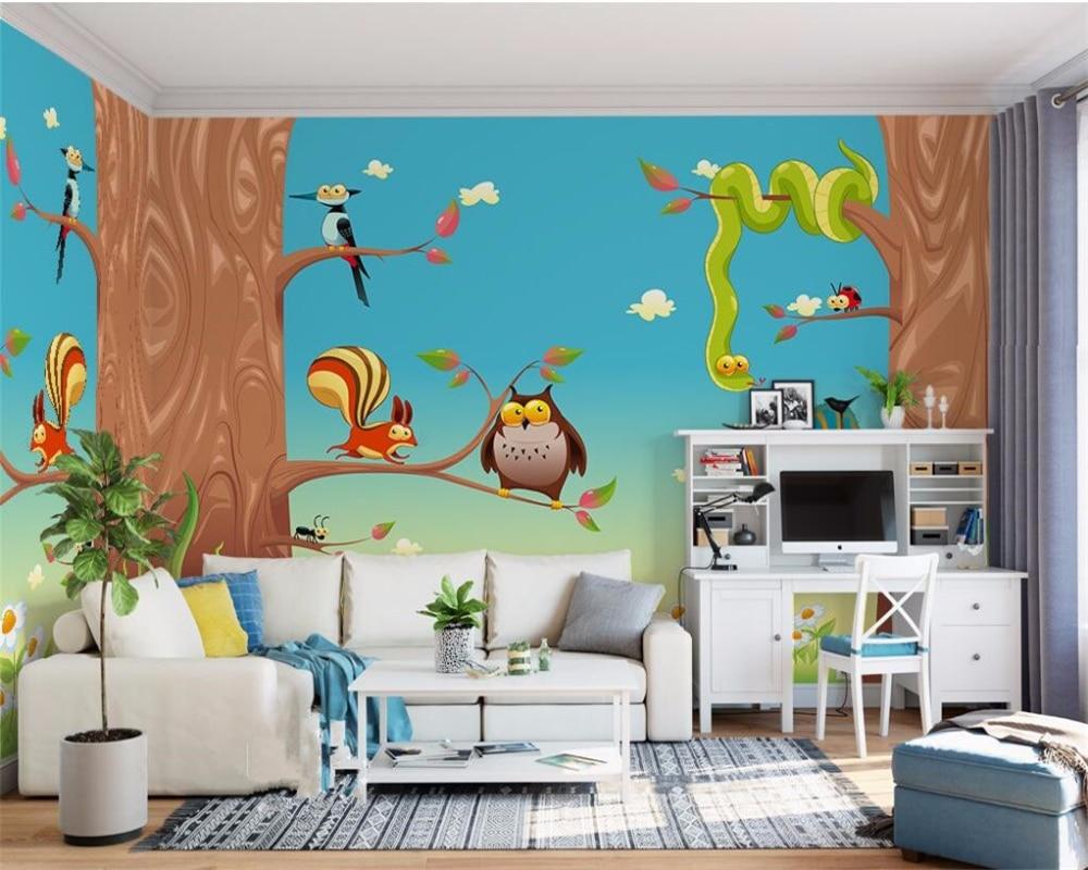 background bedroom living cartoon wall wallpapers 3d paradise tree paintings zoom beibehang fresco children