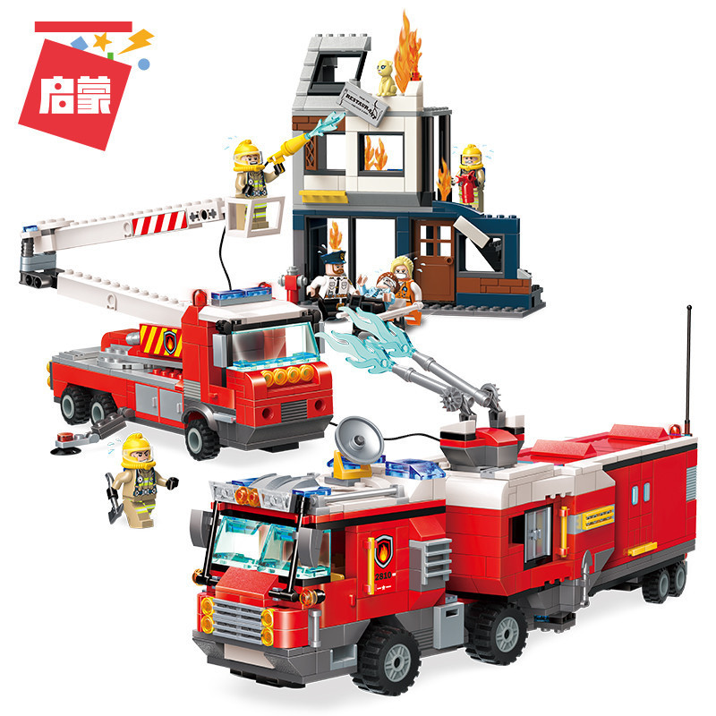 Fire fighting ladder truck 966 pcs Compatible with <font><b>lego</b></font> in building block city series Model Brick figure Toys For Children image