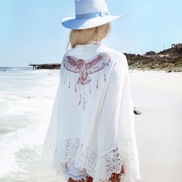 Loose white Lace beach dress Cardigan