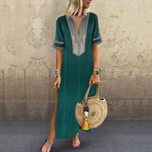 2019 Women Dress Casual Plus Size African Printed Maxi Dresses Short Sleeve Slim V neck Long Dress Solid Color Summer Streetwear v neck printed plus size maxi prom dress