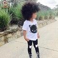 KAMIMI 2017 Кот Отпечатано одежда костюм для 2-6 Лет Младенца короткий рукав рубашки + черные брюки леггинсы 2 шт. дети летние комплекты A341