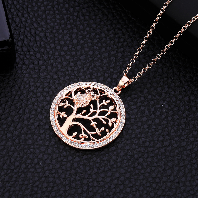 Små Uggla Halsband Tree Of Life Hänge Rose Gold Women Sweater Chain - Märkessmycken - Foto 4