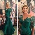 Verde 2017 Tafffeta Mãe Dos Vestidos de Noiva Sereia 3/4 Mangas Frisado Longo Mãe Das Noivas Vestidos Para Casamentos Plus Size