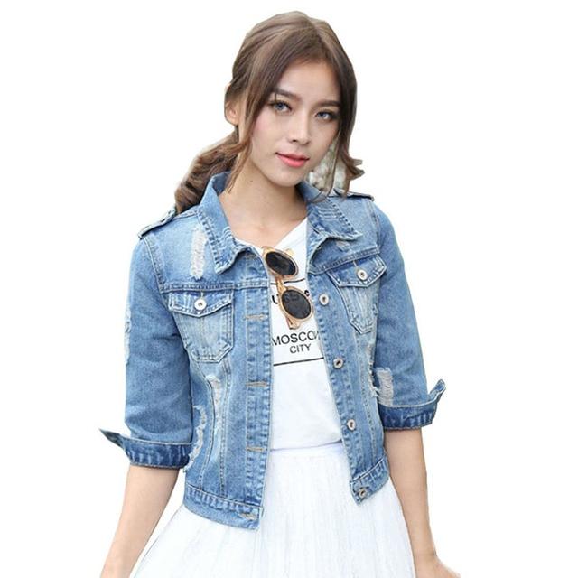 Woman Jacket quarti a tre Size Slim Coat For Short Women Jeans Plus Denim zpSMVLUGjq