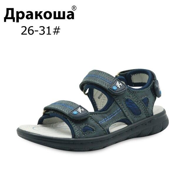 Apakowa האיחוד האירופי גודל 26-31 בני קיץ אורטופדי סנדלי עור אמיתי ילדים חוף עור פרה סיבתי ילדים רך נעליים חדש