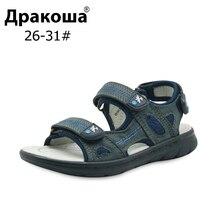 Apakowa EU Size 26 31 Bé Trai Mùa Hè Chỉnh Hình Dép Xăng Đan Da Thật Biển Cho Trẻ Đế Bằng Da Bò Nhân Quả Trẻ Em Mềm Mại giày Mới
