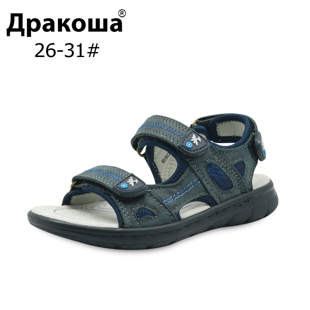 Apakowa EU Size 26-31 Boys Summer Orthopedic Sandals Genuine Leather Kids Beach Flat Sandals Cowhide Causal Kids Soft Shoes New
