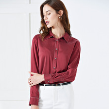 Solid Silk Women Spring Long Sleeve Blouse