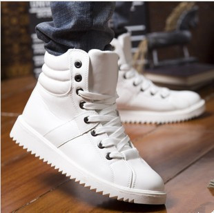 Autumn And Winter Men's High Shoes British Style Casual Boots PU Leather Lace-up Black And White Cotton Men Shoes Size 44