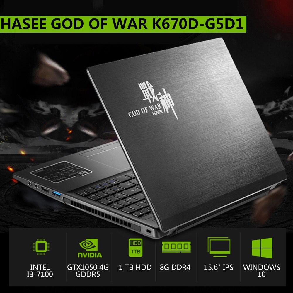 "RU Hasee 15.6 ""игровой ноутбук Тетрадь PC gtx1050 4 г GDDR5 8 ГБ DDR4 Оперативная память 1080 P IPS HD дисплей для Intel i3-7100 Процессоры 1 ТБ HDD"