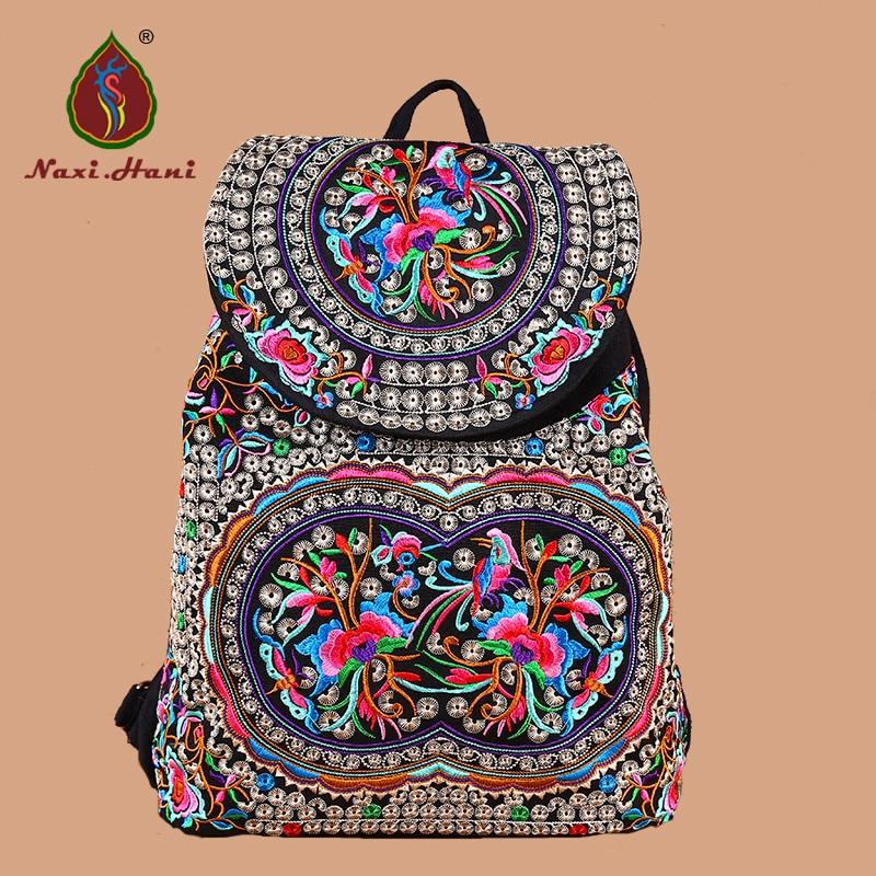 Online Sales Naxi Hani brand design Ethnic embroidered women backpack boho vintage embroidered canvas travel backpack
