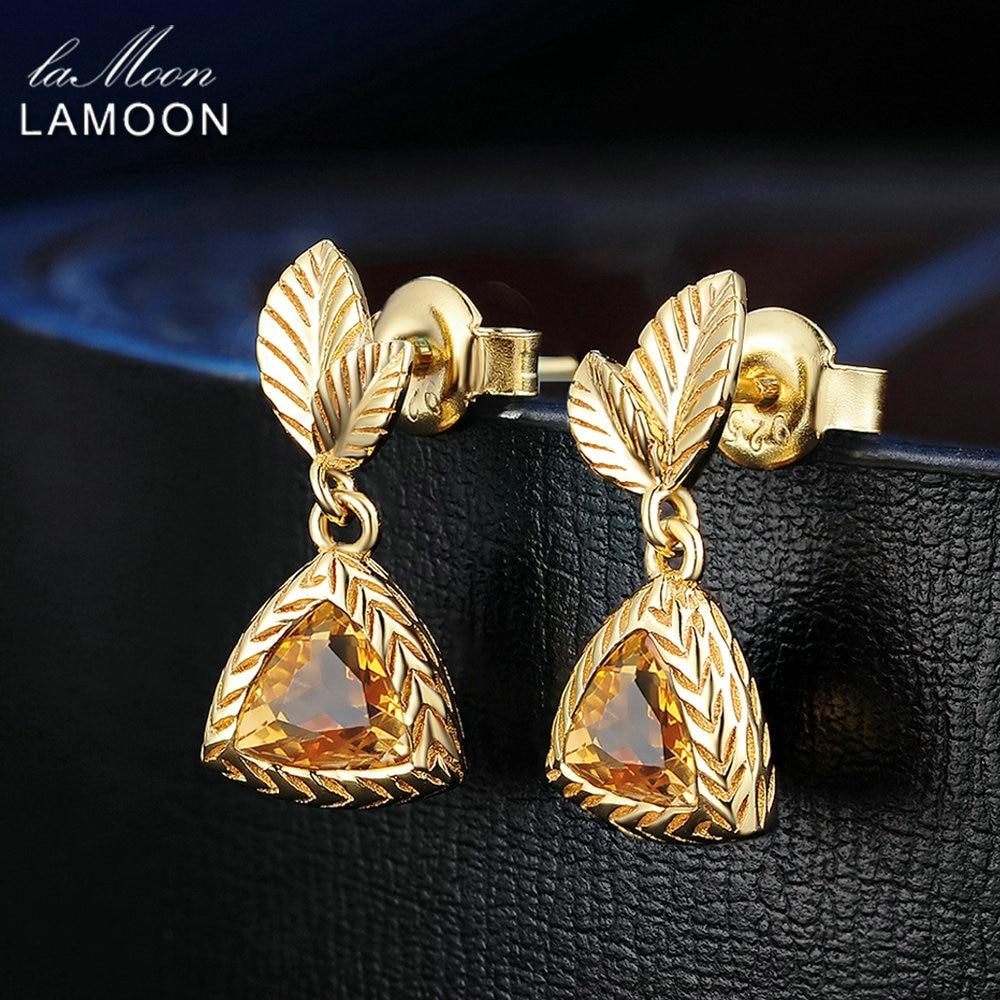LAMOON 6mm 2ct 100% Natural Triangle Citrine 925 Sterling Silver Jewelry  Drop Earrings S925 LMEI009LAMOON 6mm 2ct 100% Natural Triangle Citrine 925 Sterling Silver Jewelry  Drop Earrings S925 LMEI009
