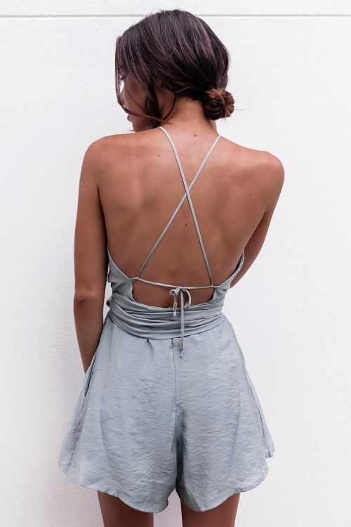 Europeus e Americanos primavera e verão novo Slim sem mangas cinto cintura emagrecimento cinza straps jumpsuit mulheres calções F1-81036