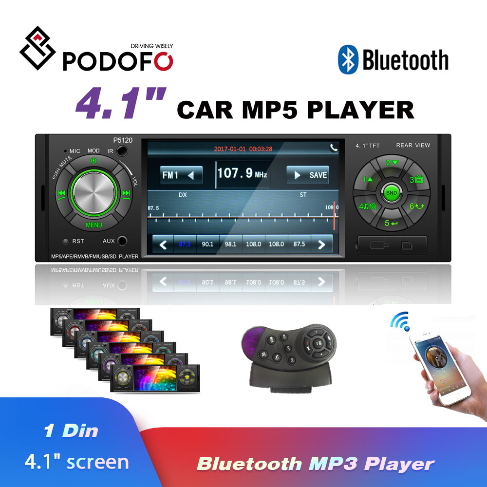 Podofo Radio Car Autoradio Bluetooth Auto Audio Stereo Bluetooth FM Aux Input Receiver SD USB 1